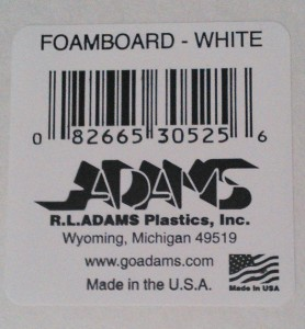 Just as a reference, here's the UPC tag from the foam board.